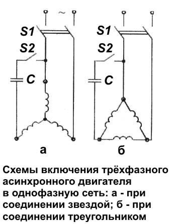 Схема трехфазного асинхронного двигателя по схеме треугольник